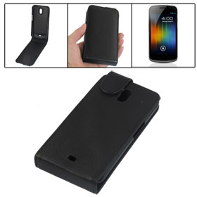 Pull Up Tab Black Plastic Faux Leather Phone Case for Samsung Nexus I9250