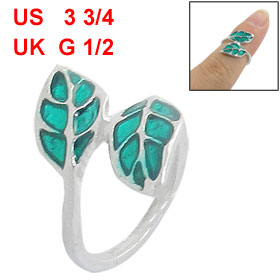 Ladies Green Double Leaves Design Silver Tone Finger Ring US 3 3/4