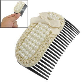Ivory Bowknot White Plastic Faux Pearls Hair Clip Comb for Women