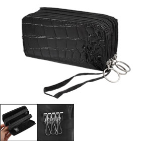 Black Faux Leather Crocodile Pattern 3 Compartments Purse Wallet w Keyring