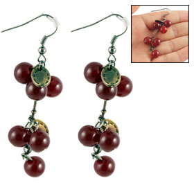 Pair Burgundy Plastic Beads Decor Dangling Hook Earrings for Ladies