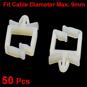 50 Pcs Plastic 9mm Dia Wire Fixer Push in Cable Clip Fastener Beige