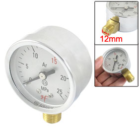 Silver Tone 52mm Diameter 0-25 MPa Air Gas Pressure Gauge