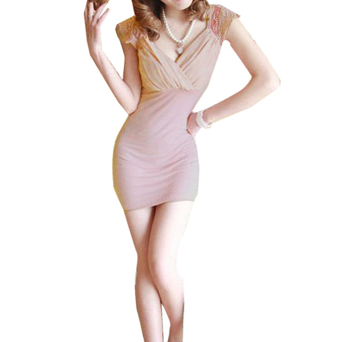 Allegra K Women Embroidering Flower Lace Shoulder Decor Sleeveless Dress Pink XS