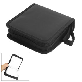Square 40 Pcs Capacity CD Organizer DVD Carrying Case Holder Black