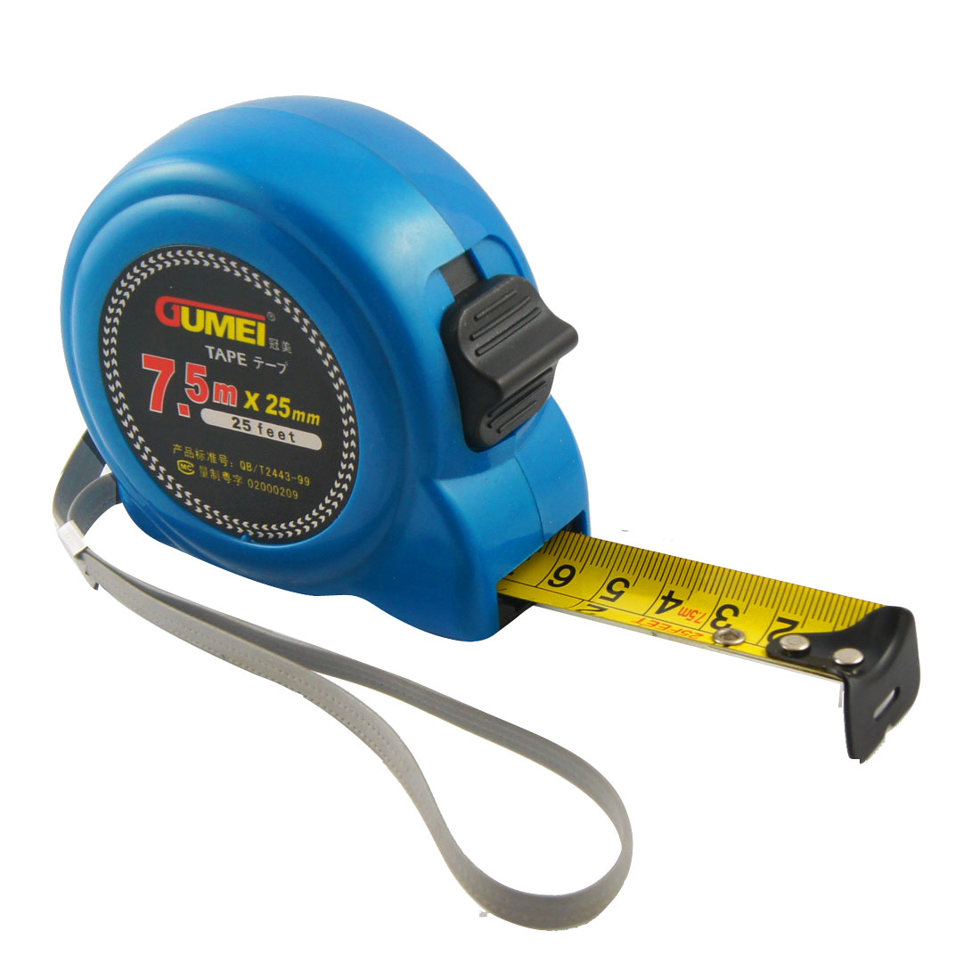 7-5M-25FT-Retractable-Blue-Plastic-Case-Lock-Button-Measuring-Tape
