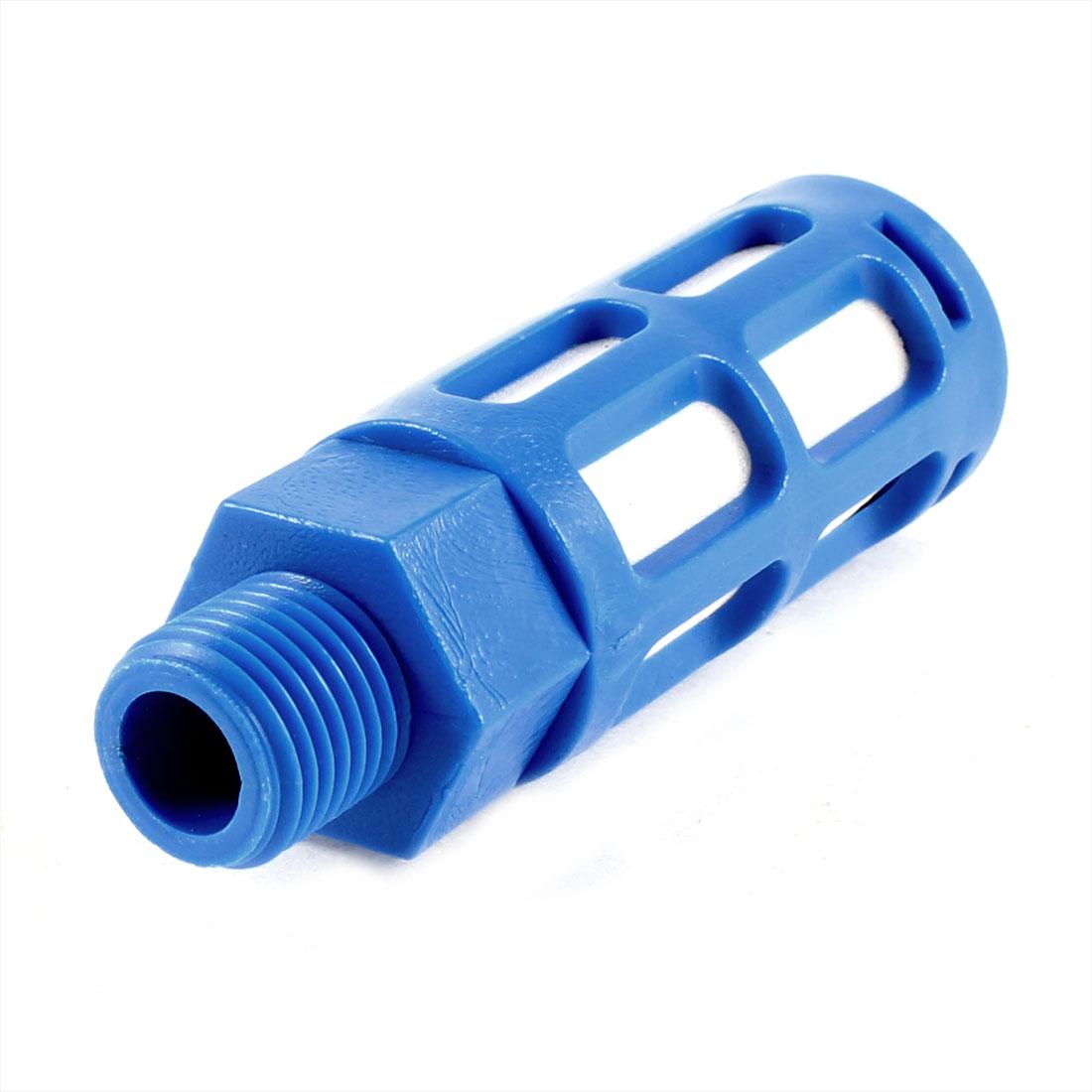 1-4-PT-Male-Thread-Blue-Plastic-Cylinder-Sound-Noise-Eliminator-Muffler