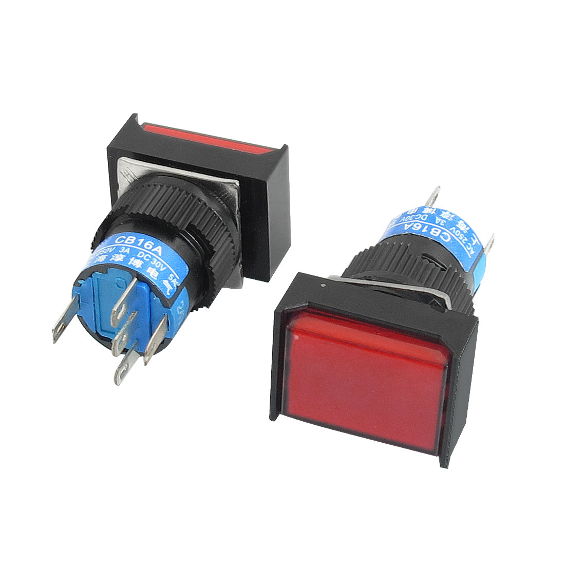 2Pcs-5-Terminals-Red-Rectangle-Momentary-Pushbutton-Switch-DC-24V-Lamp