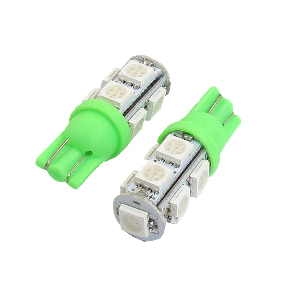 Vehicle-T10-Green-5050-SMD-9-LED-Brake-Side-Light-Bulbs-12VDC-2pcs