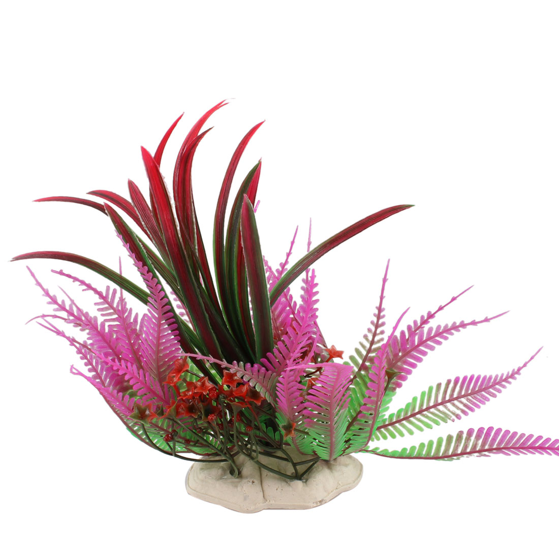 Fish-Tank-Plastic-Fuchsia-Green-Grass-Plant-Decor-8-9-Height