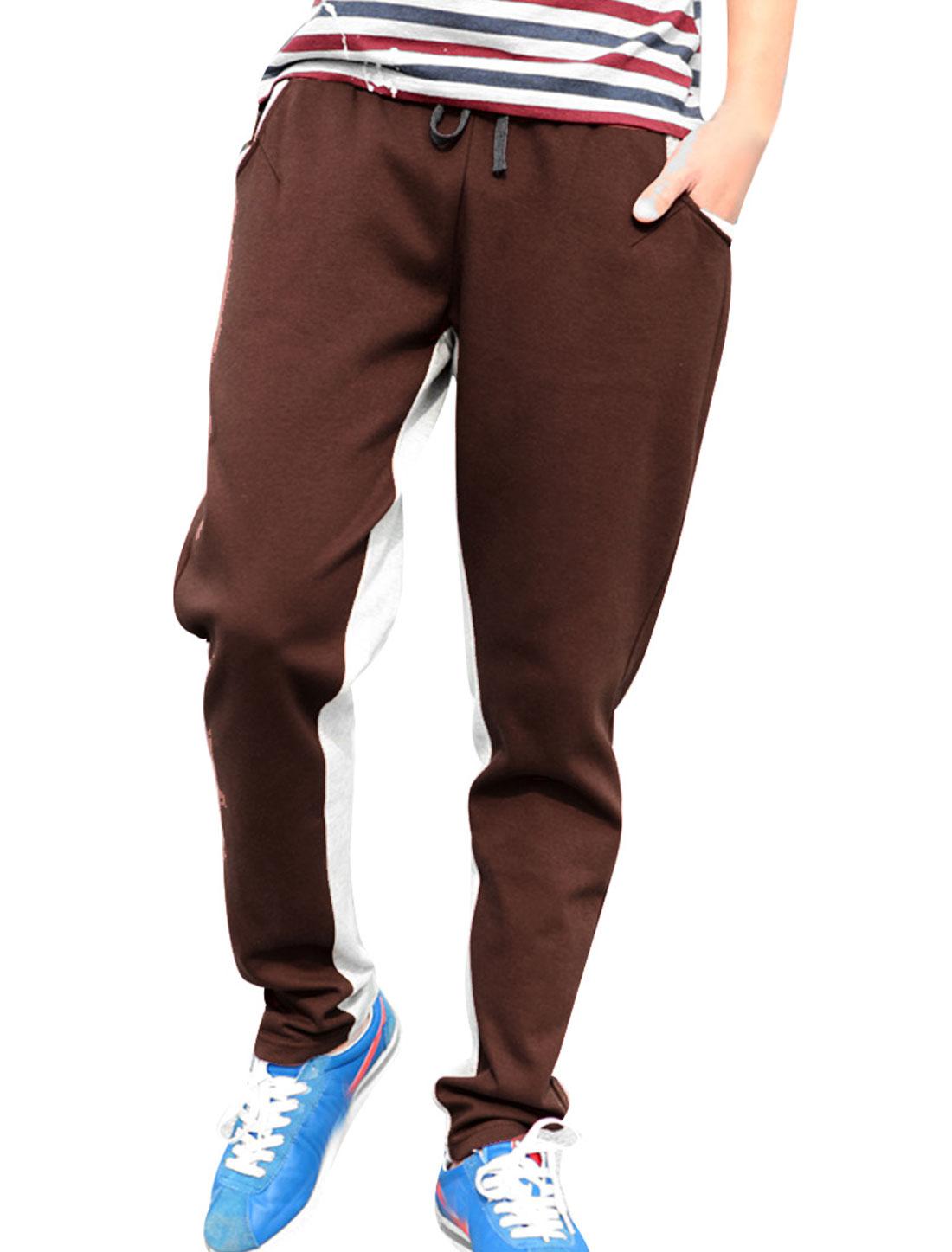 Azzuro Contrast Color Coffee Color Light Gray New Fashion Mens Elastic Waist Pants W30