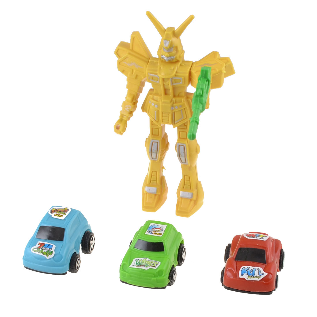 Yellow-Green-Plastic-Robot-Gun-Model-Cars-Toy-Set-4-in-1