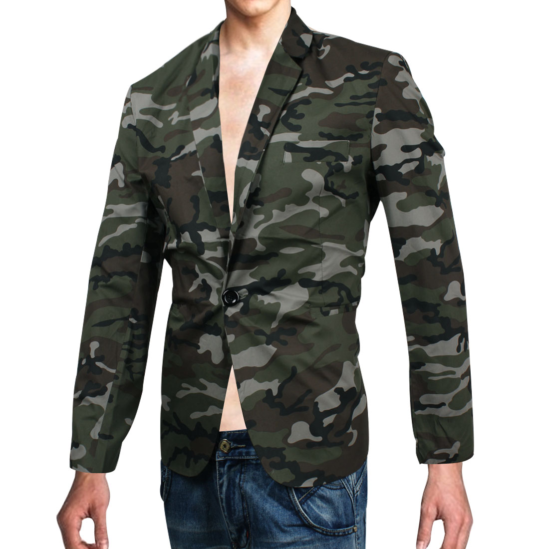 Azzuro Men Long Sleeve Camouflage Pattern Buttoned Cuff Chic Blazer Army Green M