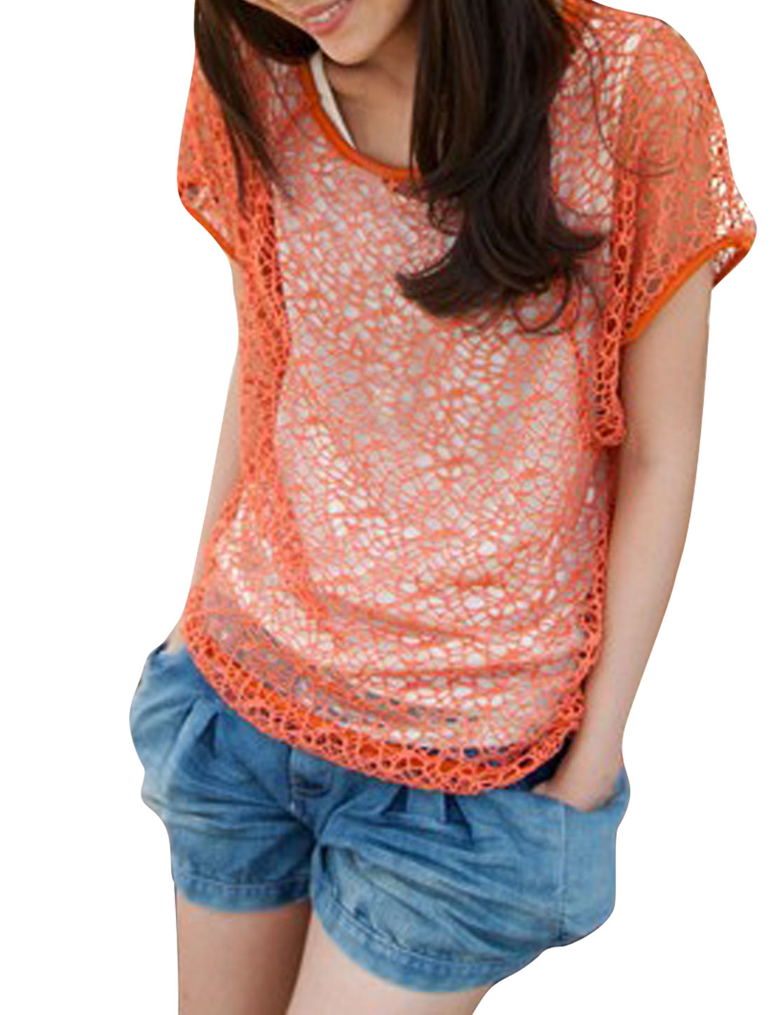 Women-Round-Neck-Lace-Decor-Tank-Top-Smock-Coral-Red-XS