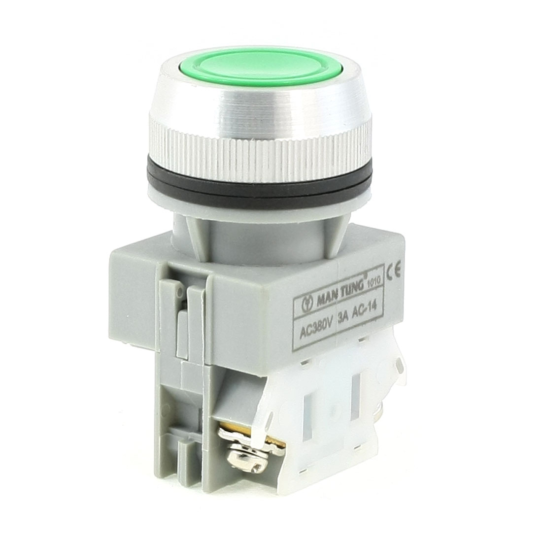 AC380V-3A-1NO-1NC-Momentary-Round-2-Pins-2-5cm-Dia-Green-Cap-Push-Button-Switch