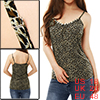 Ladies Black Beige Spaghetti Strap Leopard Prints Fake Crystal Decor Cami XL