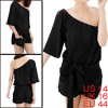Ladies Black Elastic Waist Belt Loop Design Summer Stylish Romper L