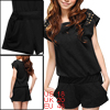 Ladies Black Studded Detail Casual Elastic Waist Summer Romper XL