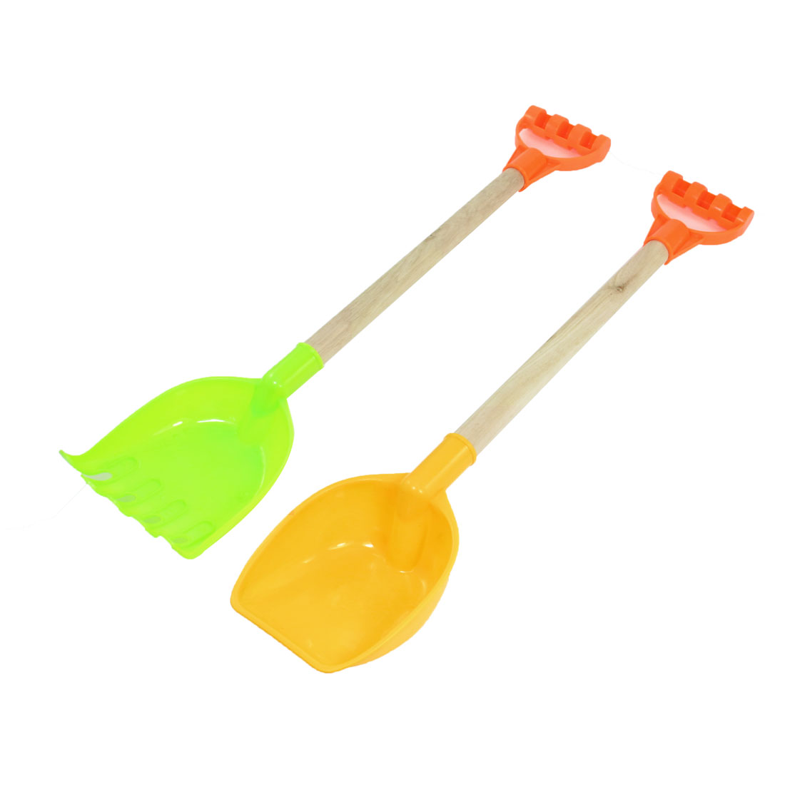 Child-Plastic-Light-Green-Yellow-Beach-Rake-Spade-Wood-Handle-Red-2-Pcs