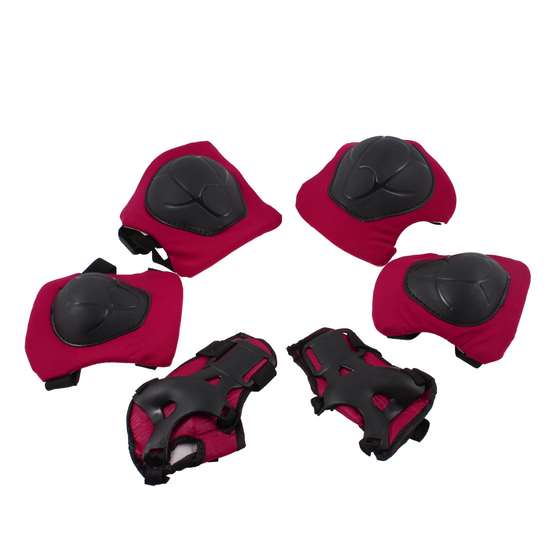 Adult-Skate-Black-Plastic-Pads-Wrist-Elbow-Knee-Support-Gear-Set-Red-3-Pairs
