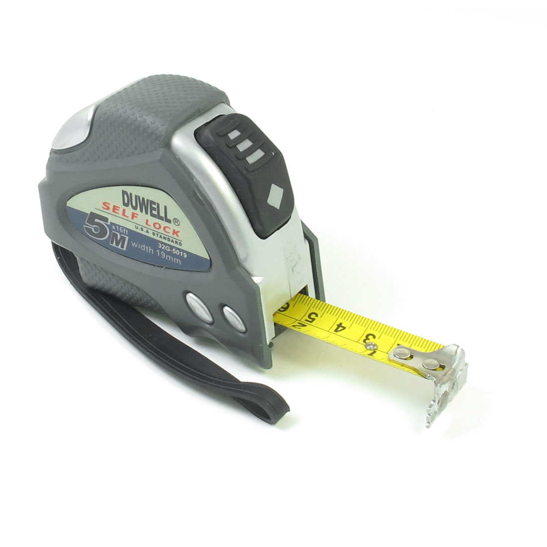Retractable-Ruler-Wide-Blade-16Ft-Tape-Measuring-Range-Gray-Silvery-Tone-w-Strap