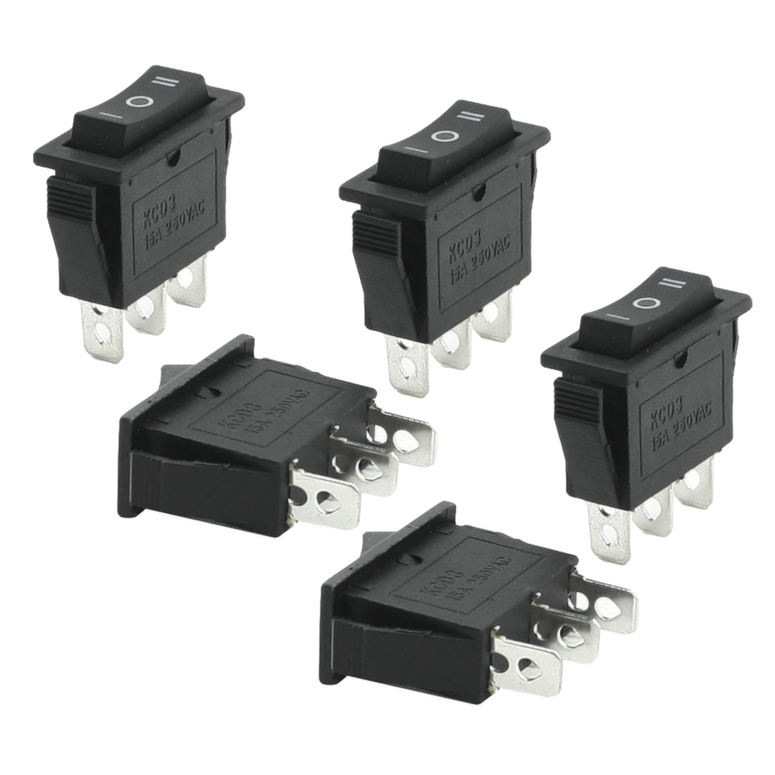 Unique Bargains 5 Pcs 3 Pins SPDT Black On/Off/On Rocker Switch AC 250V 15A