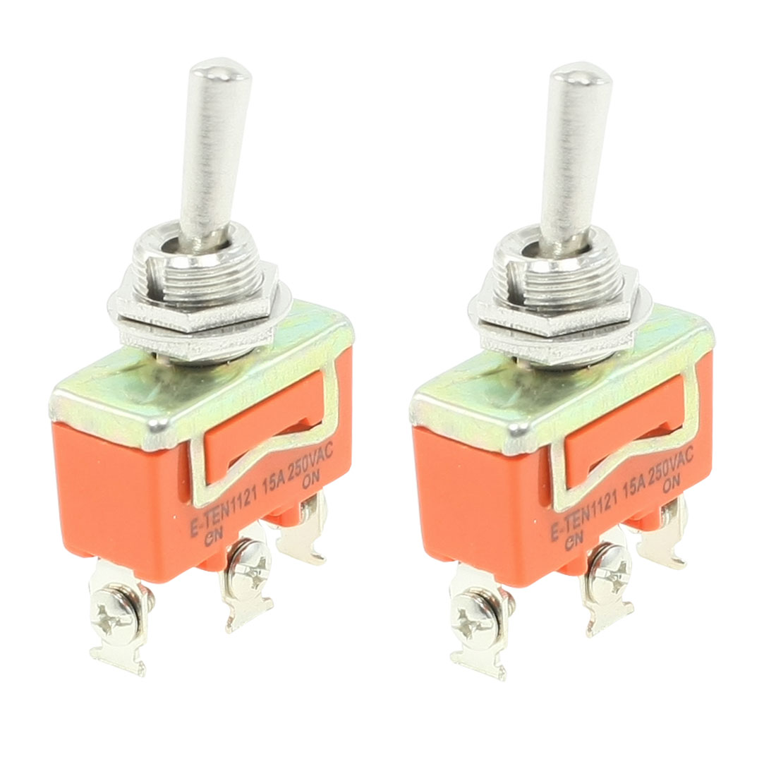 Unique Bargains 2 Pieces DPDT ON-ON 3 Pin Panel Mounted Toggle Switch 15A AC 250V