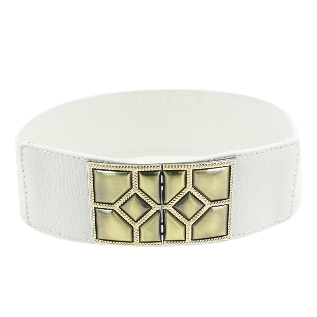 Faceted Interlocking Buckle 6cm Wide Elastic Cinch Belt for Ladies