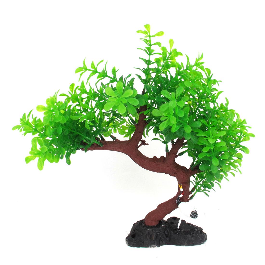 """10.6"""" Haut Plante d'aquarium Feuille Vert Branche d'arbre avec Décor Grue oiseau"""