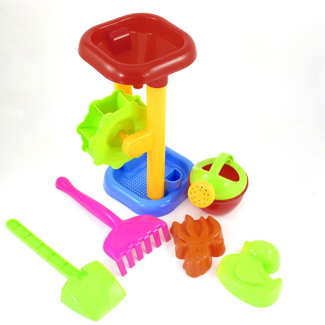 6-Pcs-Child-Colorful-Plastic-Frame-Filling-Funnel-Sand-Filter-Rake-Beach-Toy-Set