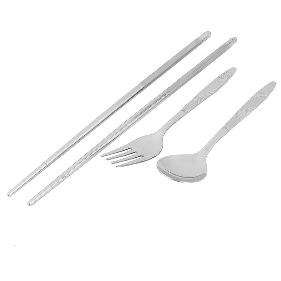 Silver-Tone-Stainless-Steel-Tableware-Chopsticks-Spoon-Fork-Cutlery-Set