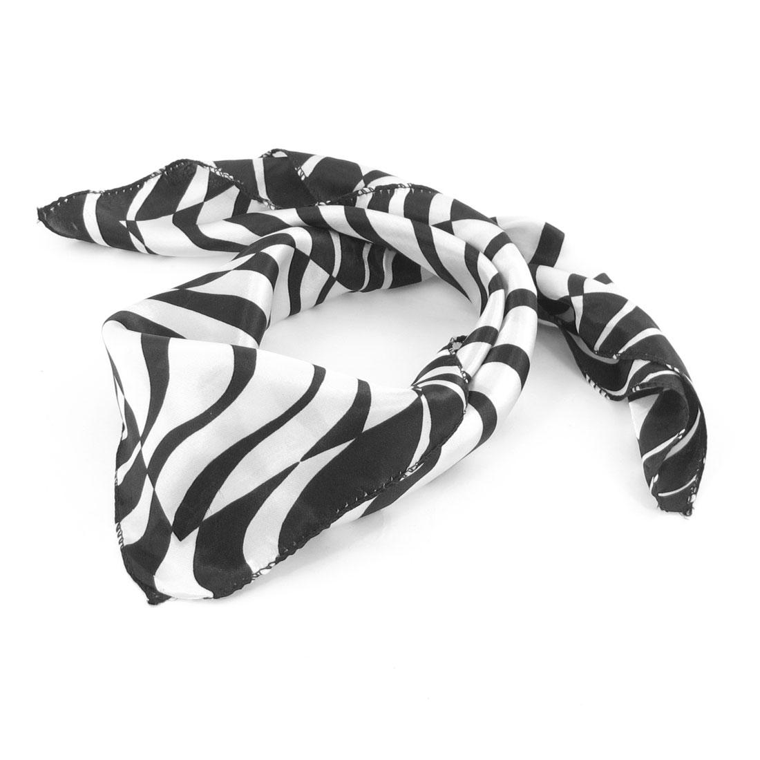 Allegra K Lady Women Polyester Black White Stripes Pattern Neck Scarf Neckchief