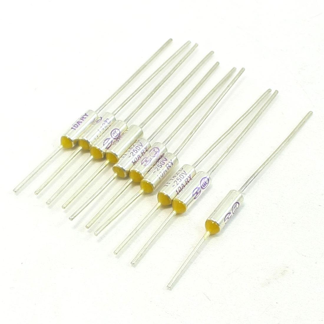 Lot de 10Câbles isotherme en métal 142degré Celsius 250V 10A fusible thermique