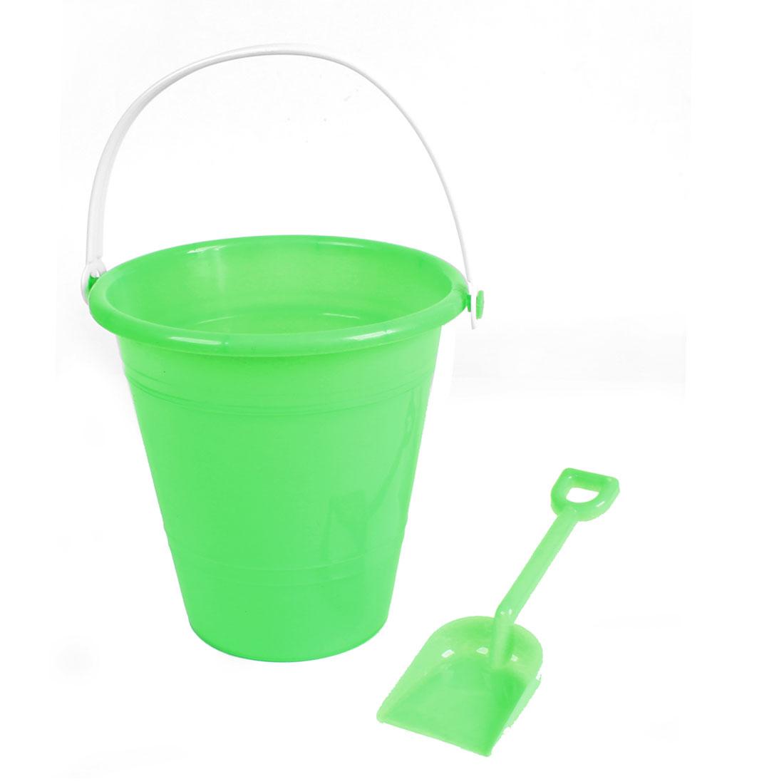 Kid-Light-Green-Handle-Beach-Sand-Bucket-Pail-Toy-w-Plastic-Shovel