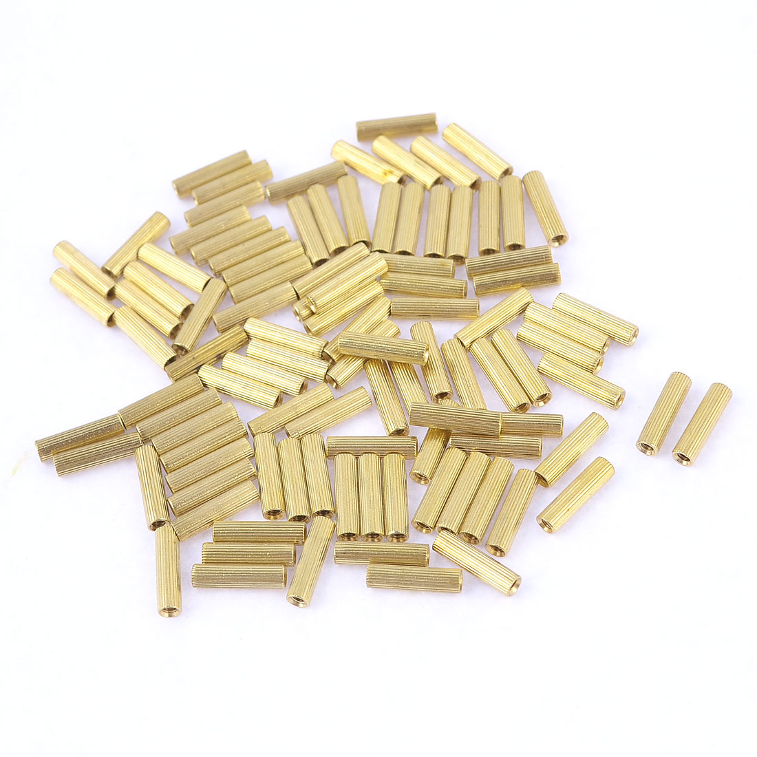 100-Pcs-Female-Threaded-Pillars-Brass-Standoff-Spacer-Gold-Tone-M2x10mm