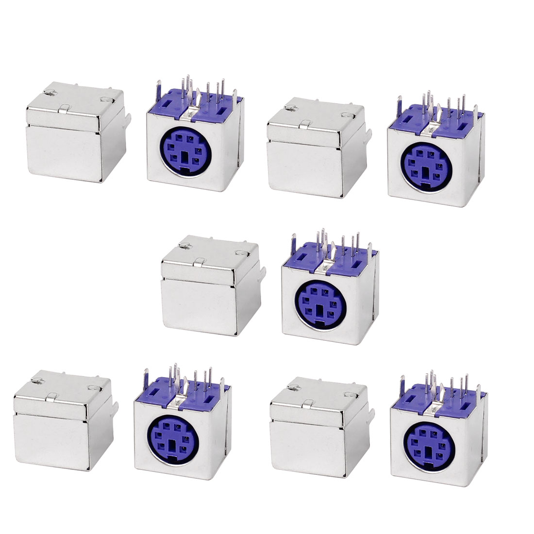 10pcs-PS-2-6P-Mini-DIN-Plug-Female-PCB-Mouse-Keyboard-Socket-Purple