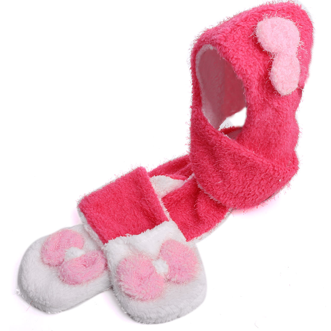 Tasharina Girl's Bowknot Decor Gloves Winter Wearing Scarf Pink White
