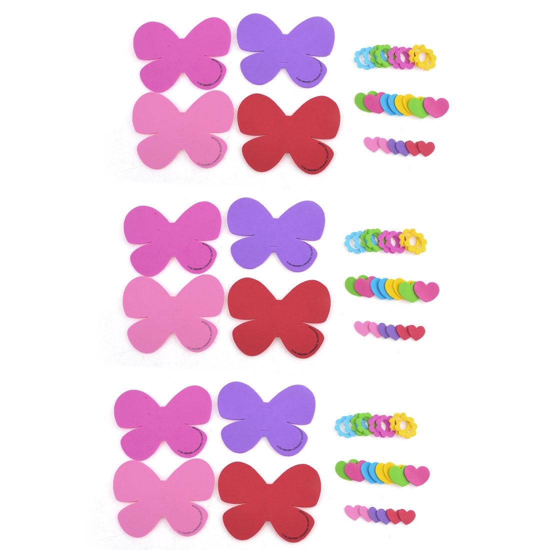 Party Purple Dark Pink Butterfly Heart Design Foam Wall Sticker Set