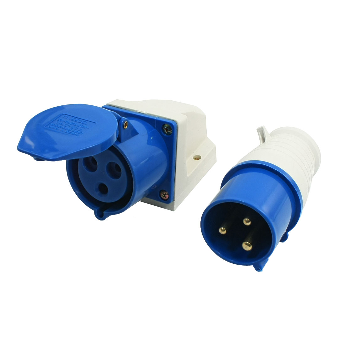 16A-220-250VAC-2P-E-IEC309-2-3-Pin-Plug-w-Waterproof-Coupler-Contector-Socket