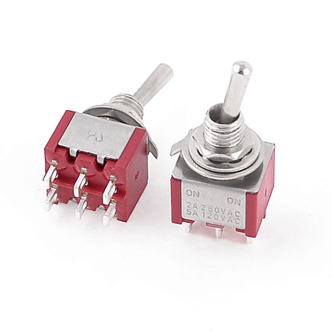 2-Pcs-AC-250V-2A-120V-5A-ON-ON-2-Position-DPDT-6-Terminals-Toggle-Switch