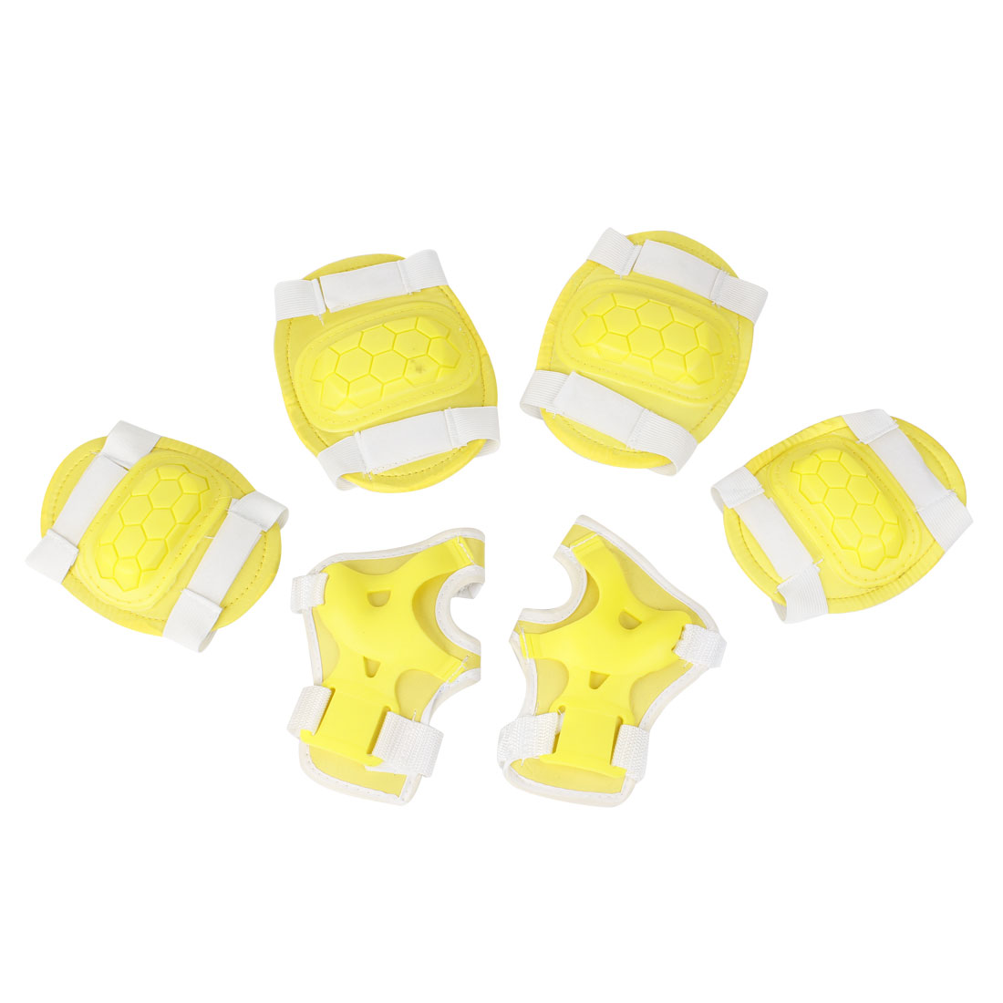 Skating-Palm-Elbow-Knee-Support-Protector-Guard-Set-Yellow-for-Kids
