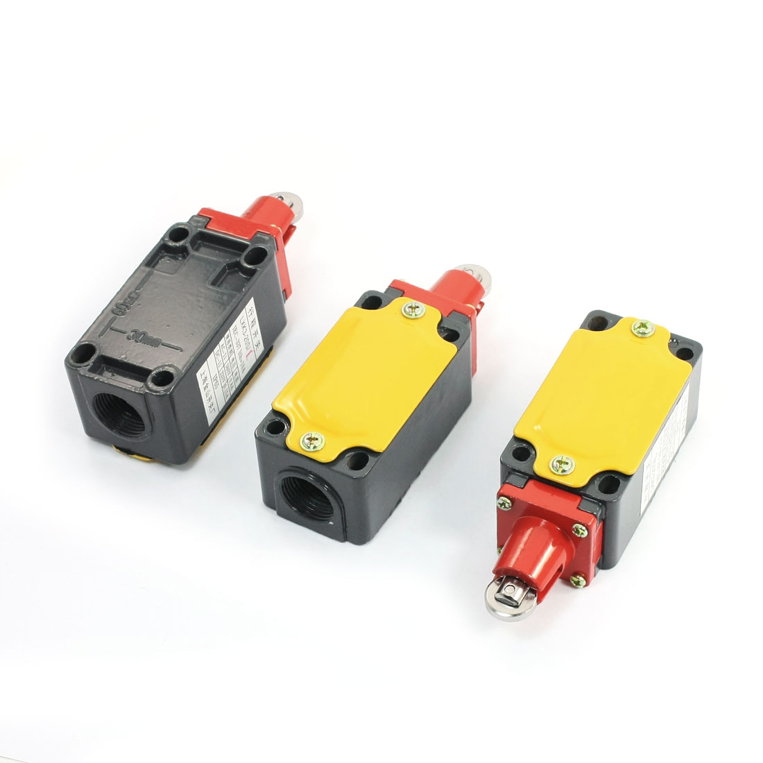 Unique Bargains 3pcs AC 380V 4 Terminal Top Roller Plunger Enclosed Momentary Limit Switch DPST