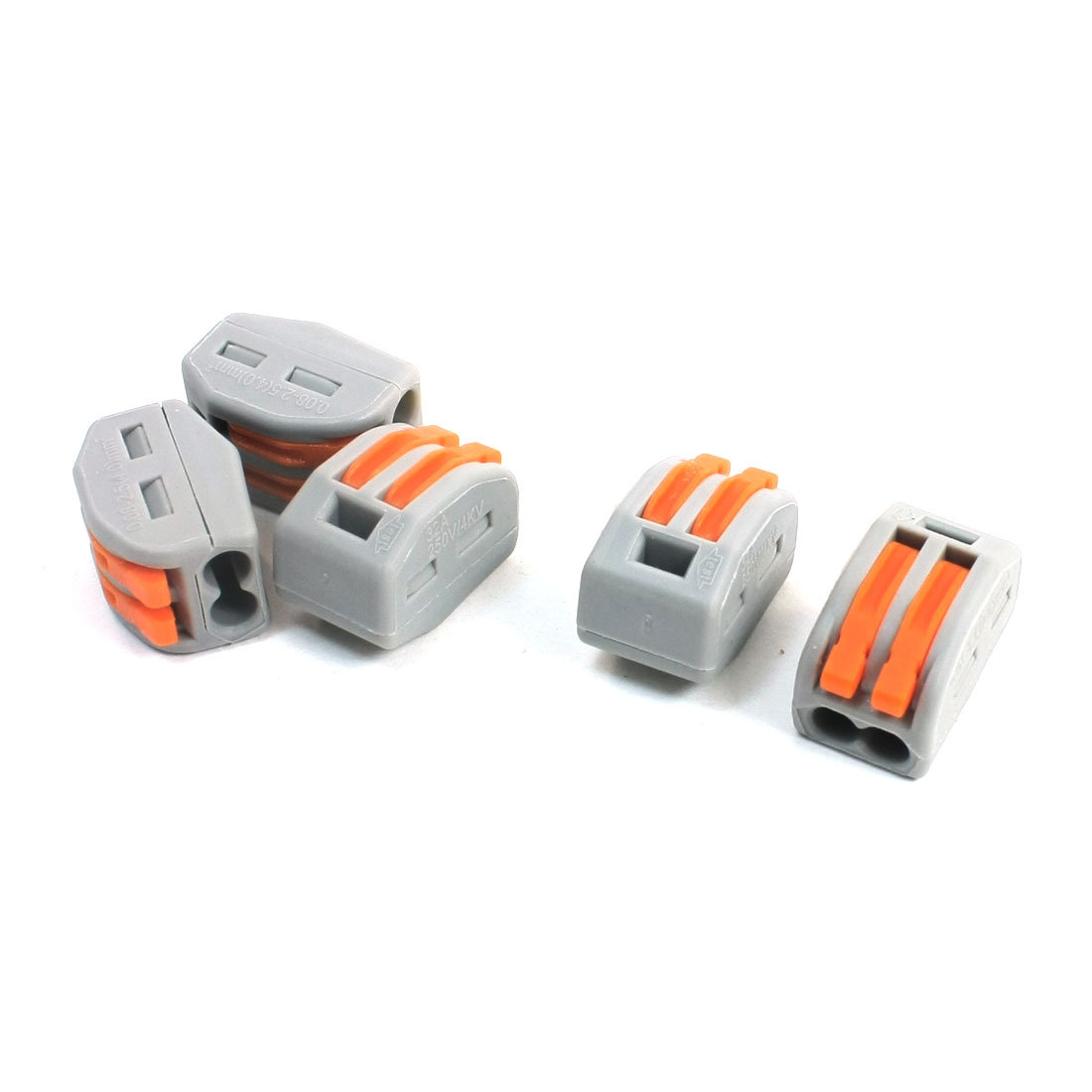 AC-250V-32A-2-Wire-0-08-2-5mm2-Lever-Lock-Clamp-Terminal-Block-5Pcs