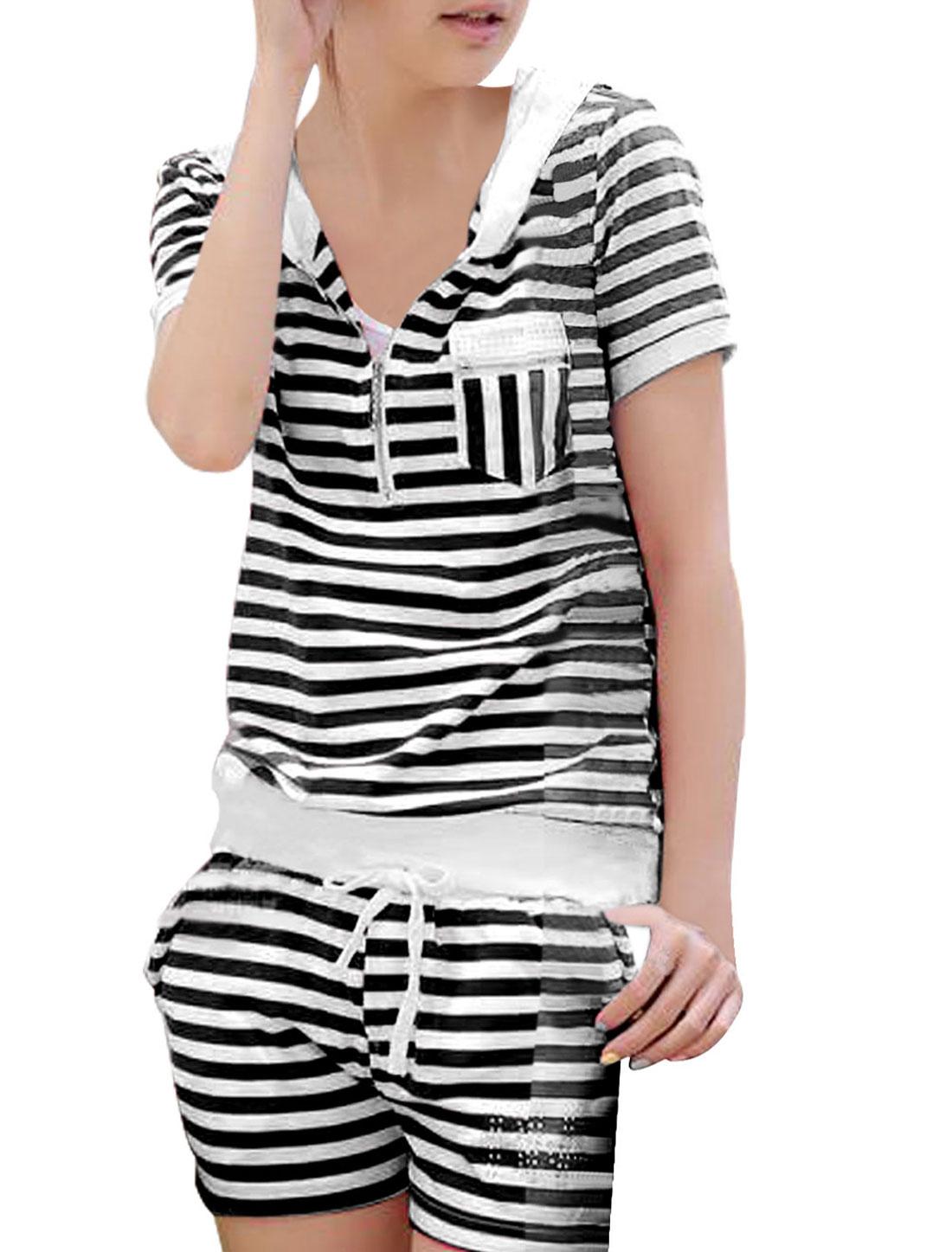 Allegra K Women's Zip Up Front Thin Hooded Top w Rhinestone Decor Shorts (Size XS / 2)