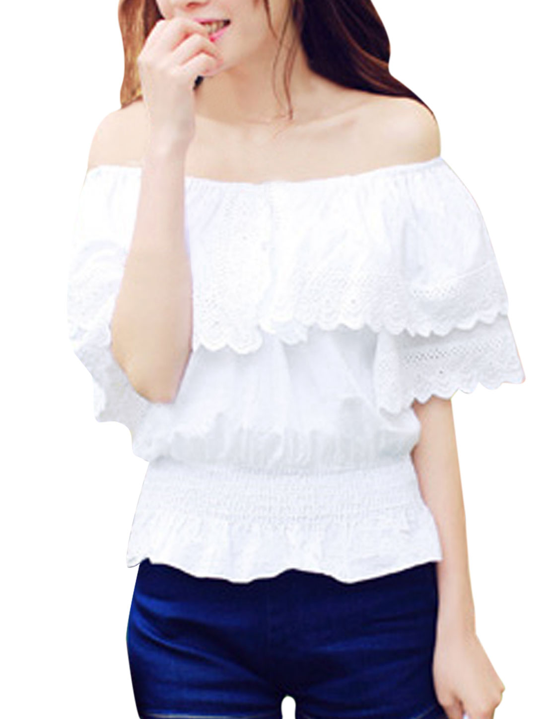 Womans-Flounce-Ruched-Detail-Off-Shoulder-Summer-Fit-Blouse