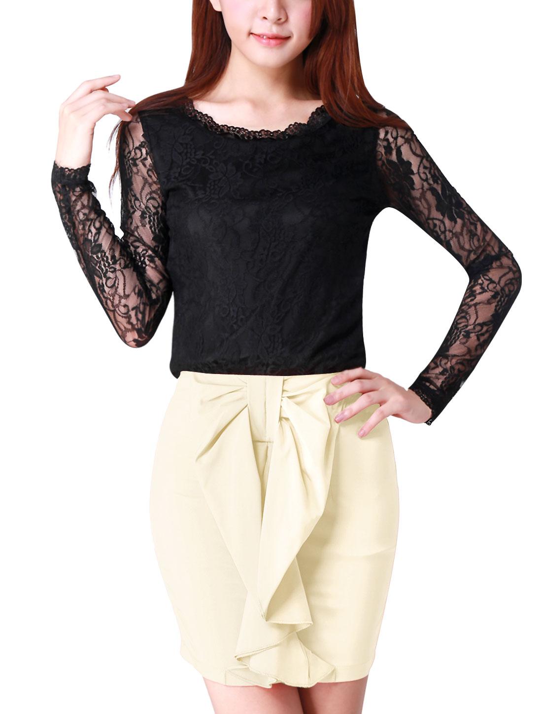 Allegra K Women's Slim Fit Pullover Lace Shirt Black (Size L / 12)