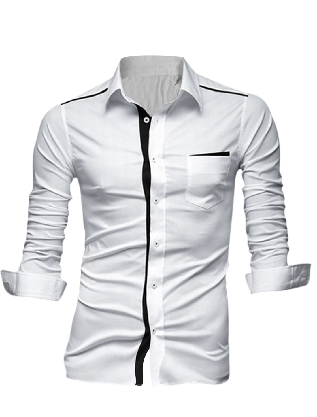 Men-Long-Sleeves-Contrast-Color-Placket-Patched-Detail-Leisure-Shirt