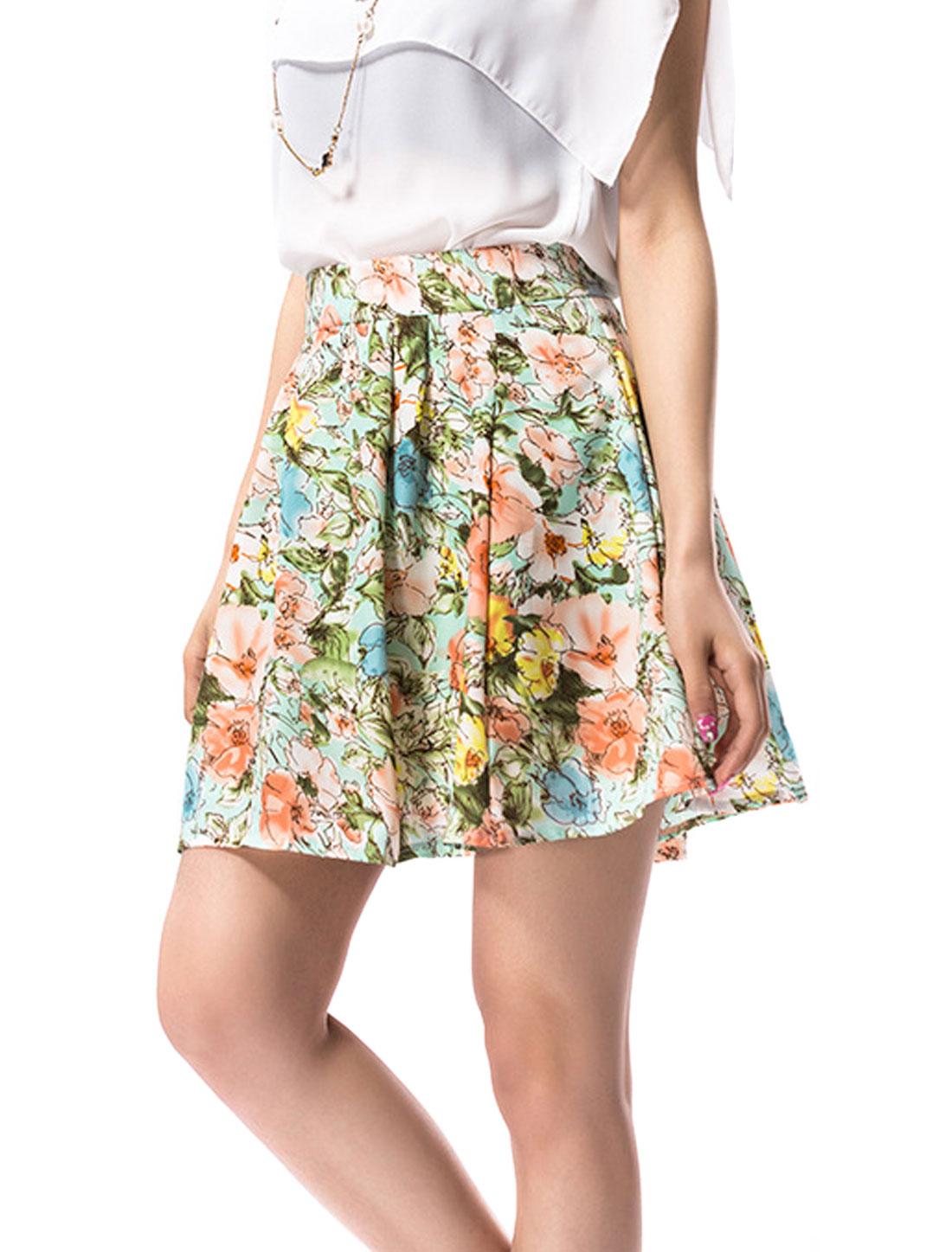 Women Sweet Hidden Side Zipper Floral Prints Pleated Skirt