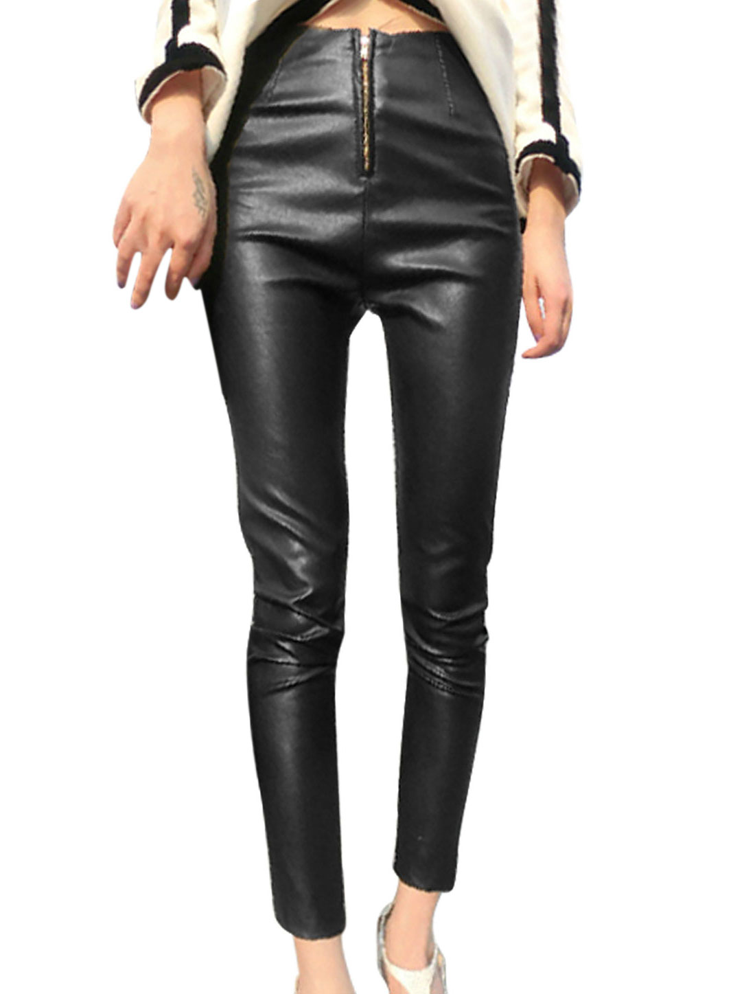 Korean Style Zip Fly Slim Imitation Leather Cropped Pants for Lady
