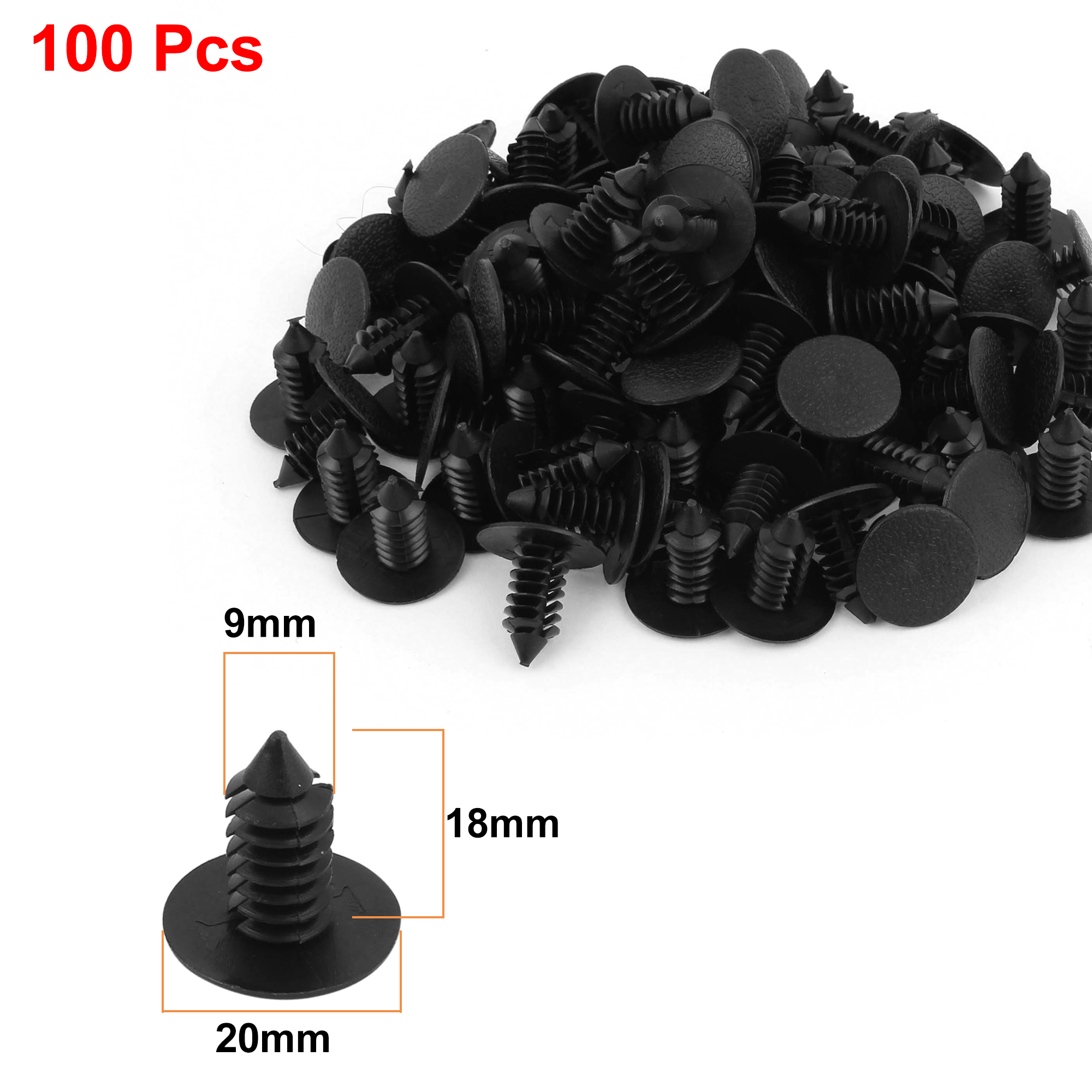 100 x 9mm Hole Dia Plastic Rivets Fastener Push Clips Black for Car Auto Fender